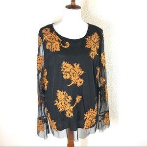 Sundance Sheer Embroidered Flora Top